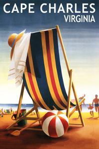 Cape Charles, Virginia - Beach Chair and Ball by Lantern Press