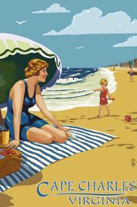 Cape Charles, Virginia - Woman on Beach by Lantern Press