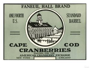 Cape Cod, Massachusetts - Faneuil Hall Brand Cranberry Label by Lantern Press