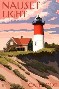 Cape Cod, Massachusetts - Nauset Light and Sunset by Lantern Press