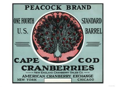 Cape Cod, Massachusetts - Peacock Brand Cranberry Label