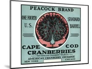 Cape Cod, Massachusetts - Peacock Brand Cranberry Label by Lantern Press