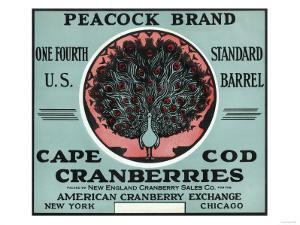 Cape Cod, Massachusetts - Peacock Brand Cranberry Label by Lantern Press