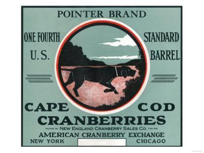 Cape Cod, Massachusetts - Pointer Brand Cranberry Label by Lantern Press