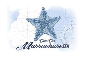 Cape Cod, Massachusetts - Starfish - Blue - Coastal Icon by Lantern Press
