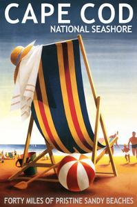 Cape Cod National Seashore - Beach Chair and Ball by Lantern Press