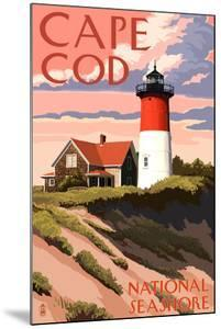 Cape Cod National Seashore - Nauset Light and Sunset by Lantern Press