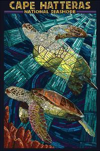 Cape Hatteras National Seashore - Sea Turtle Mosaic by Lantern Press