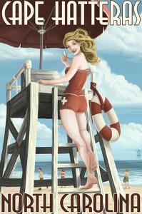 Cape Hatteras, North Carolina - Lifeguard Pinup Girl by Lantern Press