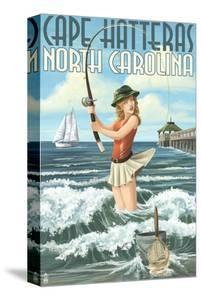 Cape Hatteras, North Carolina - Surf Fishing Pinup Girl by Lantern Press