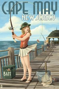 Cape May, New Jersey - Fishing Pinup Girl by Lantern Press