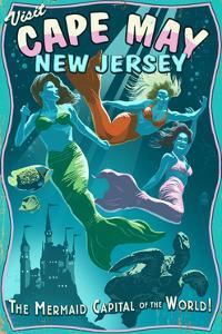 Cape May, New Jersey - Mermaids Vintage Sign by Lantern Press