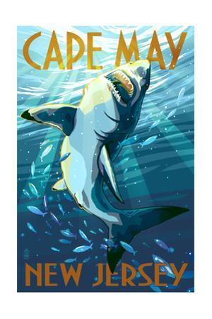 Cape May, New Jersey - Stylized Shark by Lantern Press