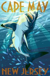 Cape May, New Jersey - Stylized Shark by Lantern Press