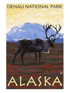 Caribou Scene, Denali National Park, Alaska by Lantern Press