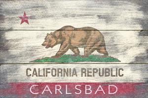 Carlsbad, CA - California State Flag - Barnwood by Lantern Press