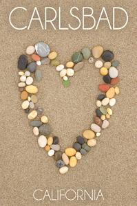 Carlsbad, California - Stone Heart on Sand by Lantern Press