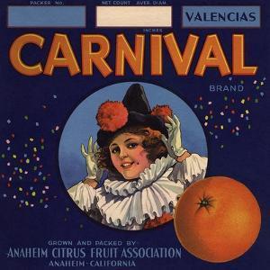 Carnival Brand - Anaheim, California - Citrus Crate Label by Lantern Press