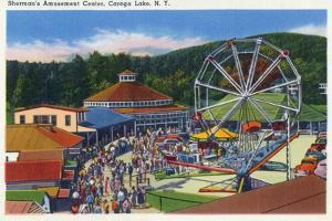 Caroga Lake, New York - Sherman's Amusement Center View by Lantern Press