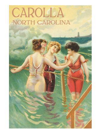 Carolla, North Carolina - Beach Scene with Three Ladies in Swim Attire in Water by Lantern Press