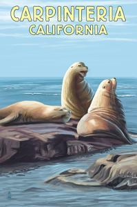 Carpinteria, California - Sea Lions by Lantern Press