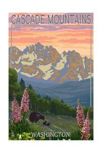 Cascade Mountains, Washington - Bears and Spring Flowers by Lantern Press
