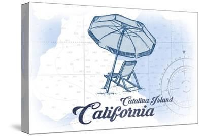 Catalina Island, California - Beach Chair and Umbrella - Blue - Coastal Icon