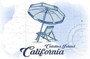 Catalina Island, California - Beach Chair and Umbrella - Blue - Coastal Icon by Lantern Press