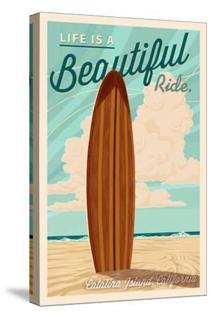 Catalina Island, California - Life is a Beautiful Ride - Surfboard Letterpress - Lantern Press Art