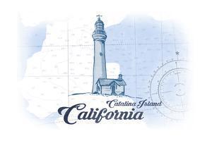 Catalina Island, California - Lighthouse - Blue - Coastal Icon by Lantern Press