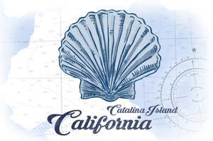 Catalina Island, California - Scallop Shell - Blue - Coastal Icon by Lantern Press