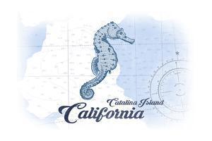 Catalina Island, California - Seahorse - Blue - Coastal Icon by Lantern Press