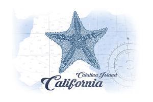 Catalina Island, California - Starfish - Blue - Coastal Icon by Lantern Press