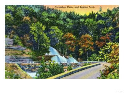 Catskill Mountains, New York - Horseshoe Curve View of Bastion Falls by Lantern Press