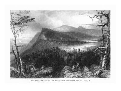 Catskill Mountains, New York, View of Two Lakes and the Mountain House by Lantern Press