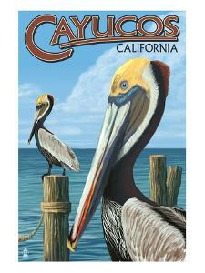 Cayucos, California - Pelicans by Lantern Press