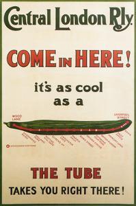 Central London Underground Railway - Cucumber Vintage Poster by Lantern Press