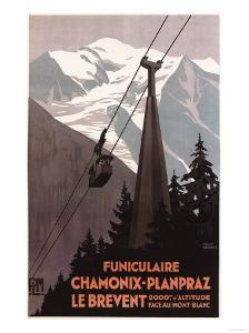 Chamonix Mont-Blanc, France - Funiculaire Le Brevent Cable Car Poster by Lantern Press