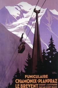 Chamonix-Mont Blanc, France - Funicular Railway to Brevent Mt. by Lantern Press