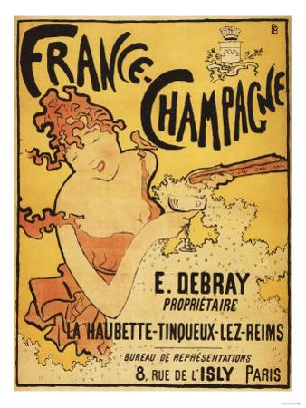 Champagne, France - E. Debray Champagne Advertisement Poster by Lantern Press