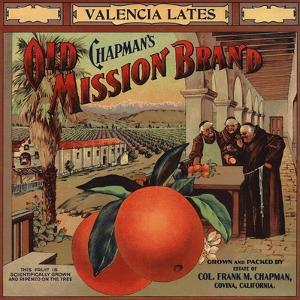 Chapmans Old Mission Brand - Covina, California - Citrus Crate Label by Lantern Press