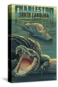 Charleston, South Carolina - Alligators Scene by Lantern Press