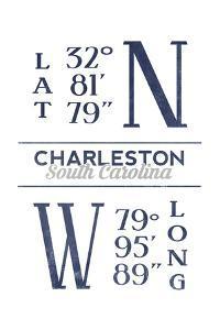 Charleston, South Carolina - Latitude and Longitude (Blue) by Lantern Press