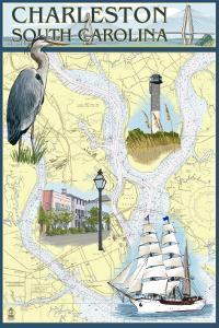 Charleston, South Carolina - Nautical Chart by Lantern Press