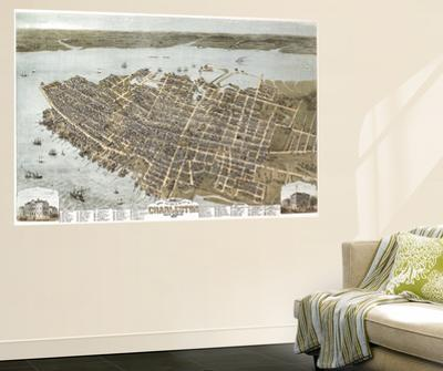 Charleston, South Carolina - Panoramic Map