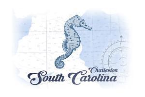 Charleston, South Carolina - Seahorse - Blue - Coastal Icon by Lantern Press