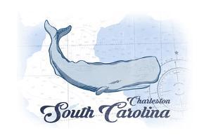 Charleston, South Carolina - Whale - Blue - Coastal Icon by Lantern Press