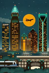 Charlotte, North Carolina - Retro Skyline (no text) by Lantern Press