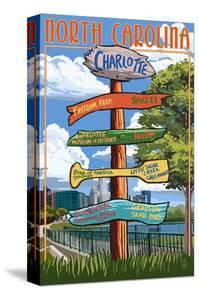 Charlotte, North Carolina - Signpost Destinations by Lantern Press