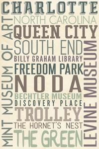 Charlotte, North Carolina - Typography by Lantern Press